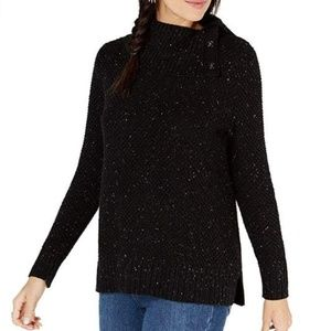 Style&Co Large Black Snap Cowl Neck Sweater 4Z37